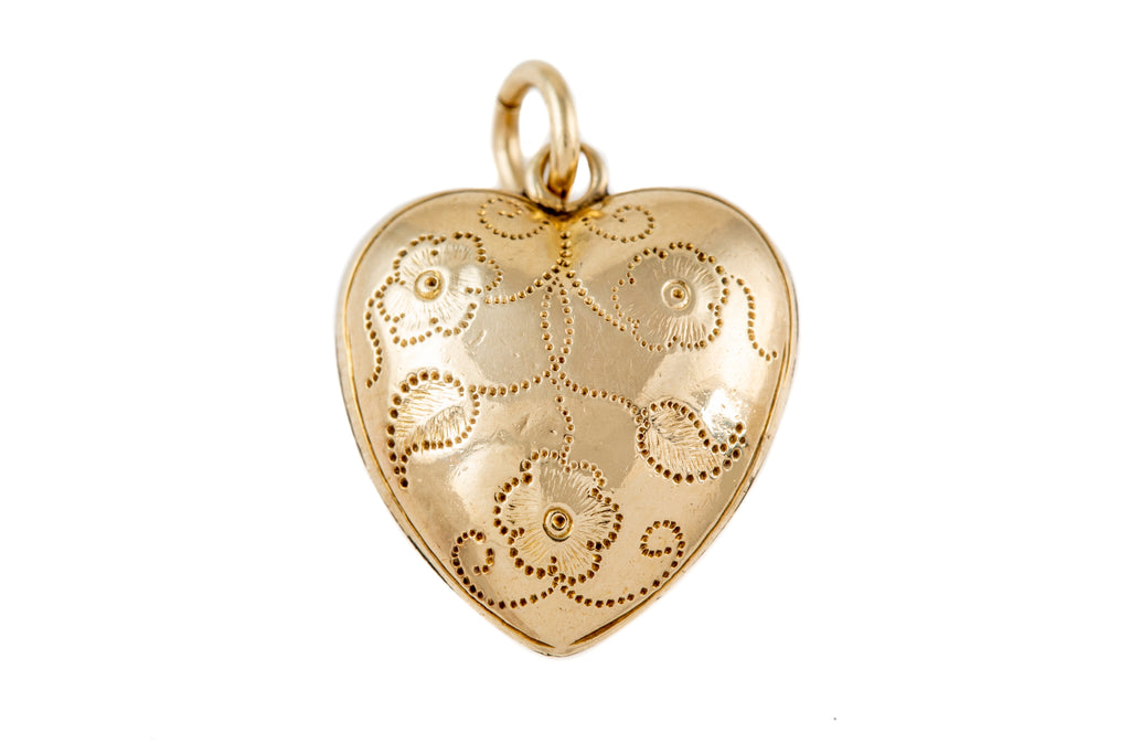 Victorian Gold Heart Charm, with Locket Back