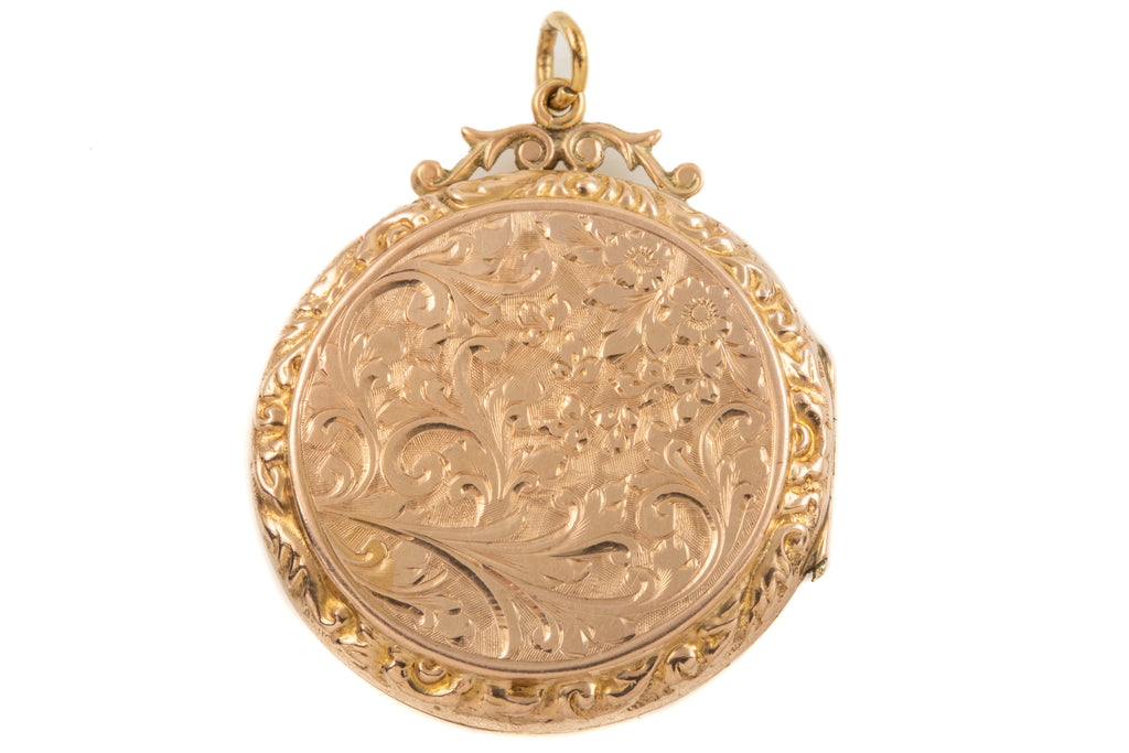 Victorian Gold Round Locket with Heart Cartouché, 9ct Gold Back and Front
