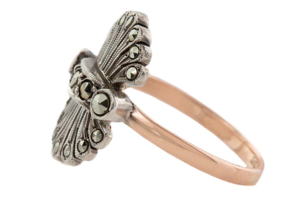 Art Deco Marcasite Fan Ring, with 9ct Rose Gold Band