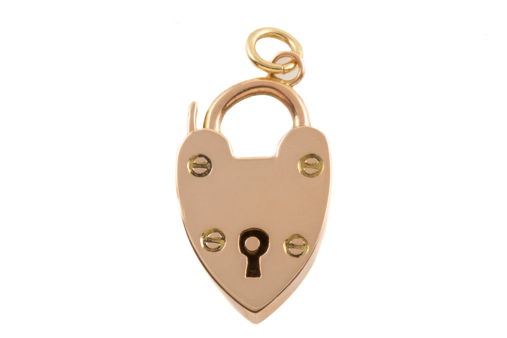 Victorian Gold Polished Heart Padlock Charm