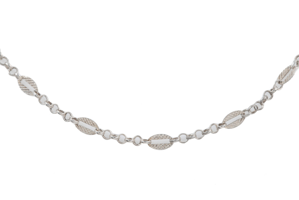 "Antique French Silver Guard Chain, 56"" (14.7g)"