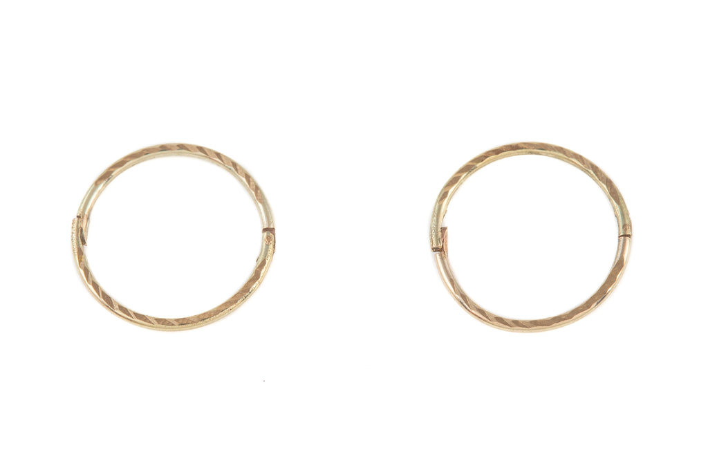 9ct Gold Sleeper Hoop Earrings