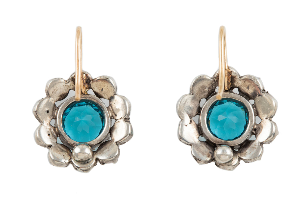 Art Deco Silver Paste Floral Earrings, with 9ct Gold Hooks