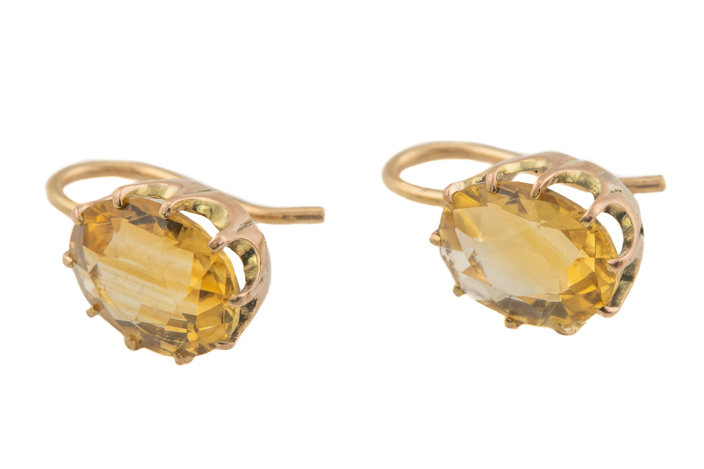 Antique Gold Citrine Earrings (4.90ct), with 18ct Gold Hooks