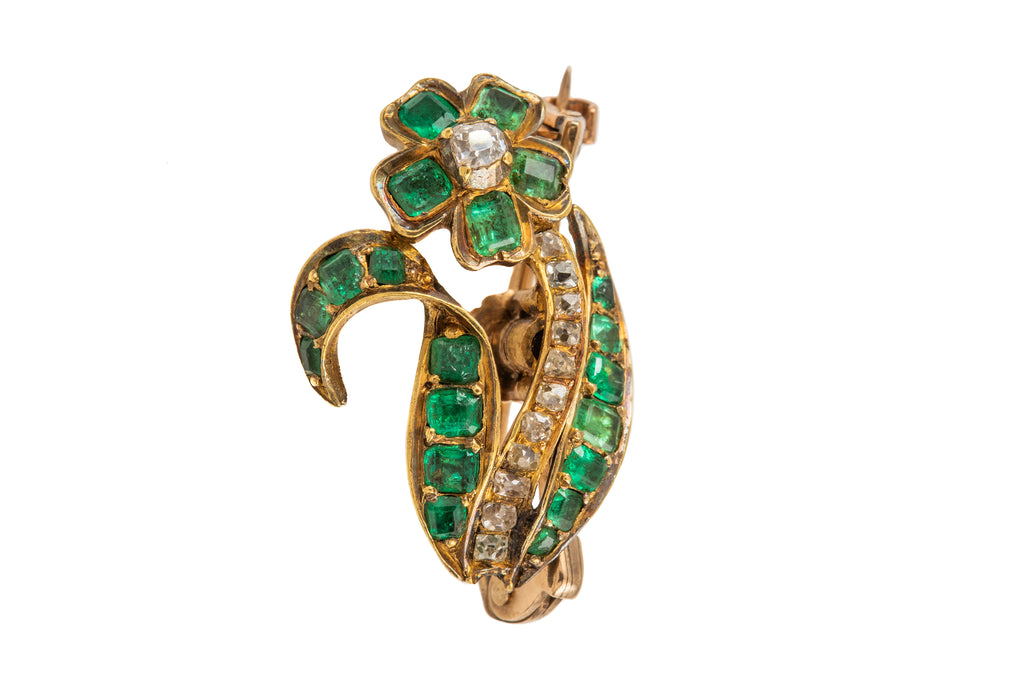 Georgian Gold Emerald Diamond Flower Brooch
