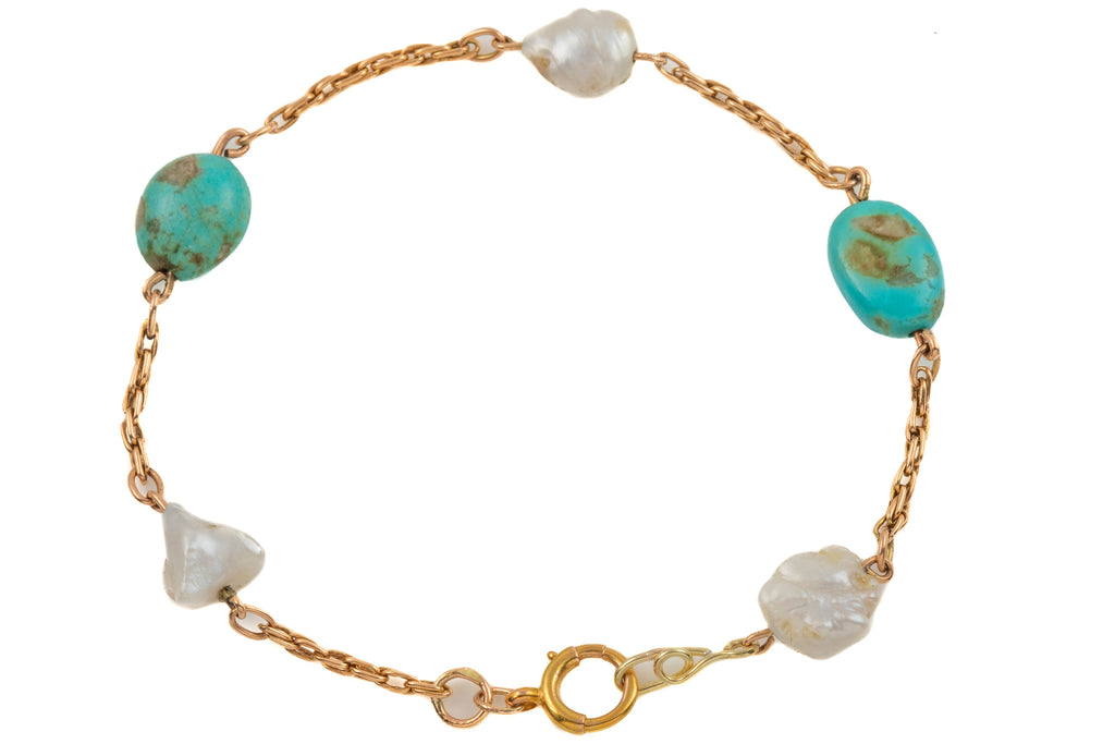 "Victorian 15ct Gold Turquoise Pearl Bracelet, 8 & 1/4"" (8.9g)"