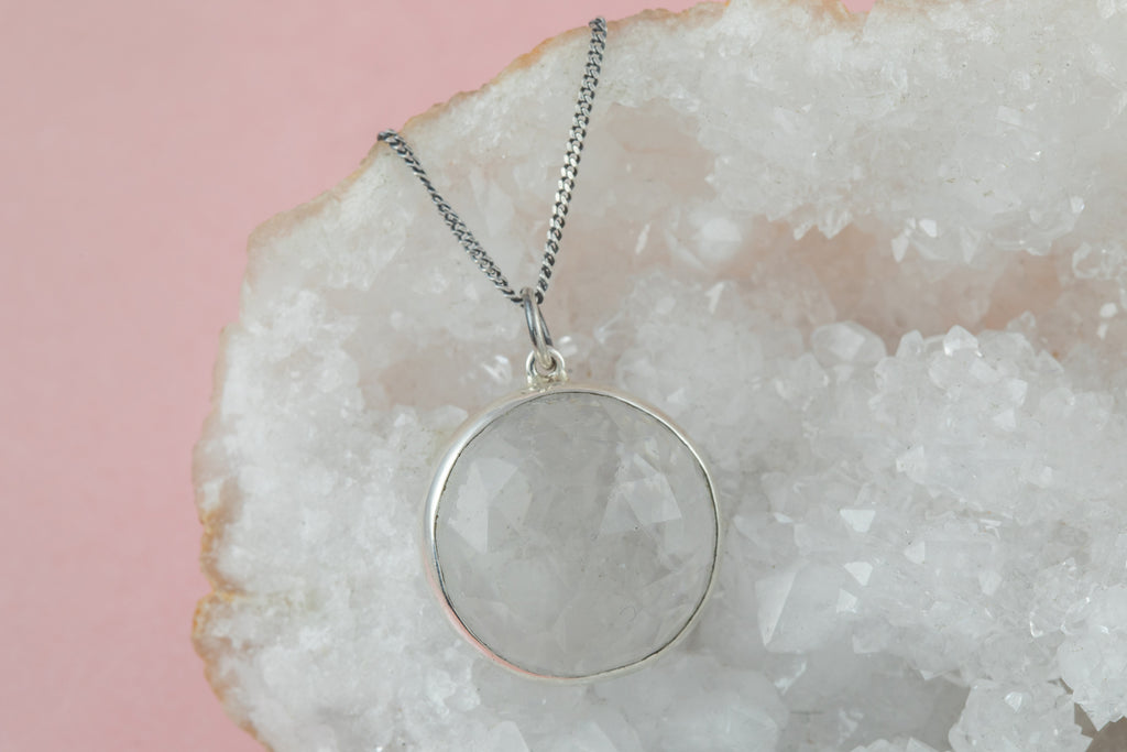 "Antique Silver Faceted Paste ""Disco Ball"" Pendant, with 18"" Chain"