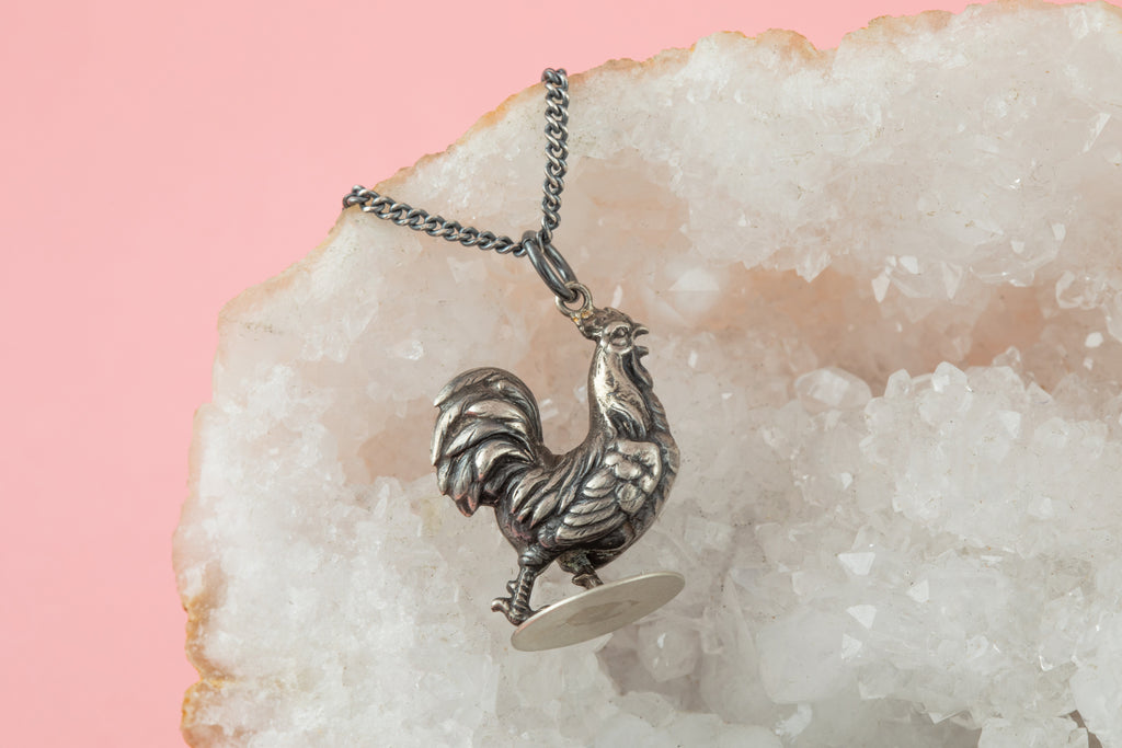 "Edwardian Silver Cockerel Pendant, with 18"" Chain"