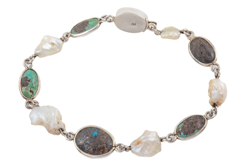 Antique Silver Turquoise Pearl Bracelet, 7 & 1/2""