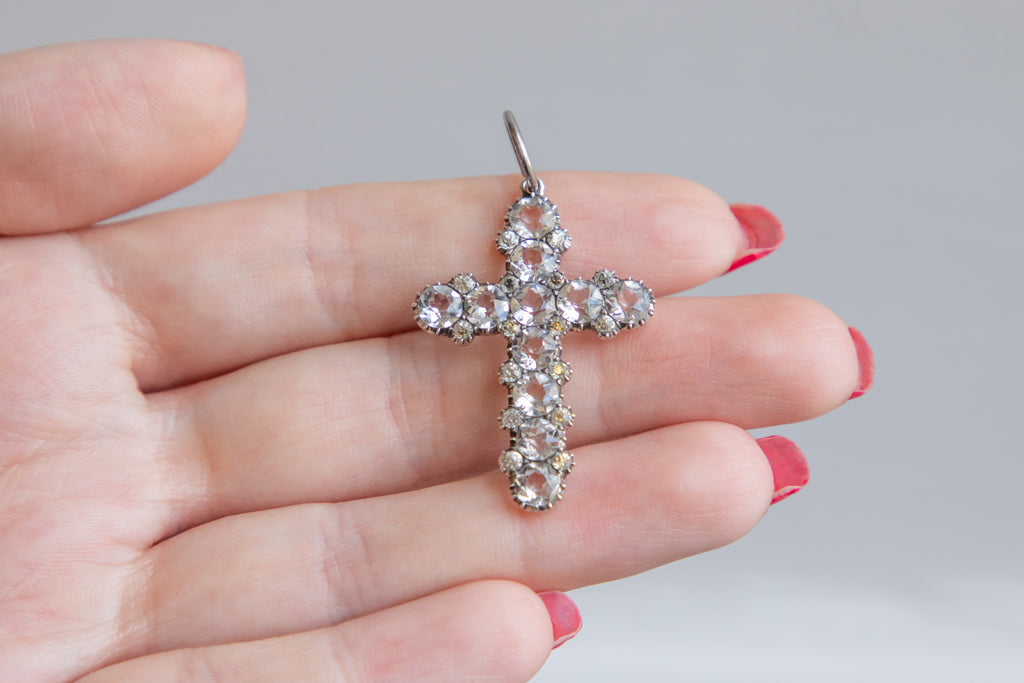 Victorian Silver Paste Cross Pendant