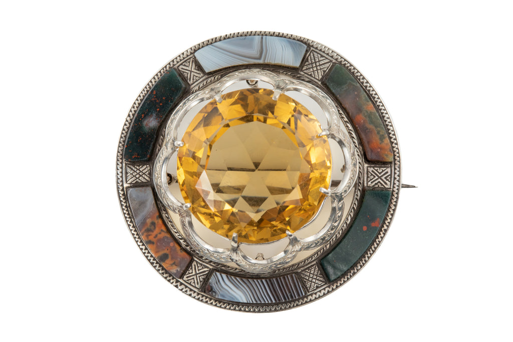 Antique Silver Scottish Agate Citrine Brooch Pendant, (30.50ct)