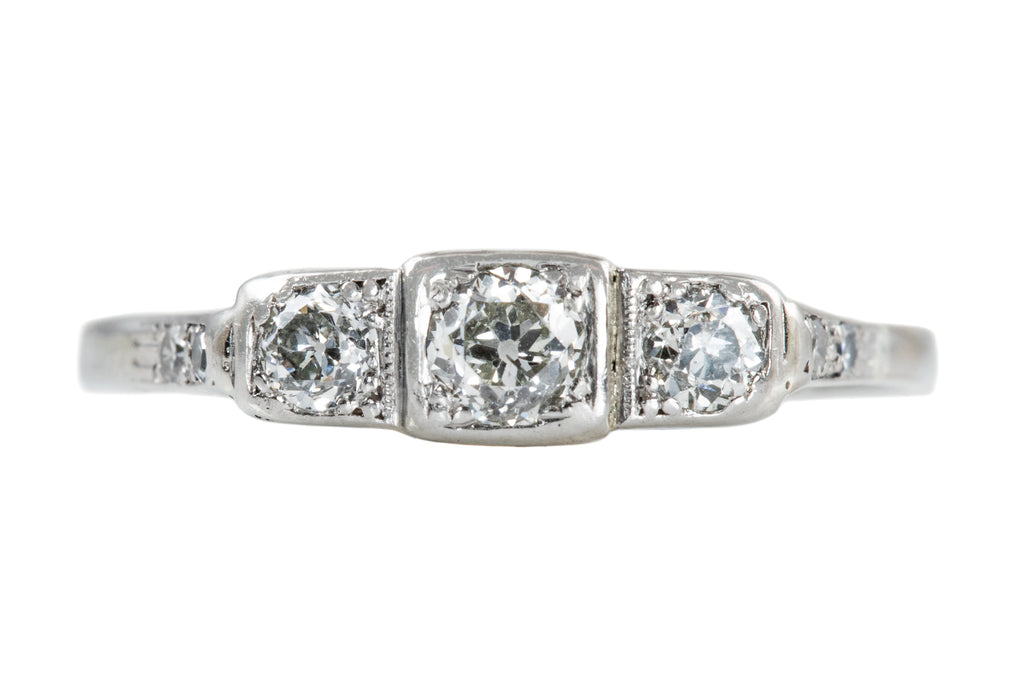 Art Deco 18ct White Gold Diamond Trilogy Ring, (0.34ct)