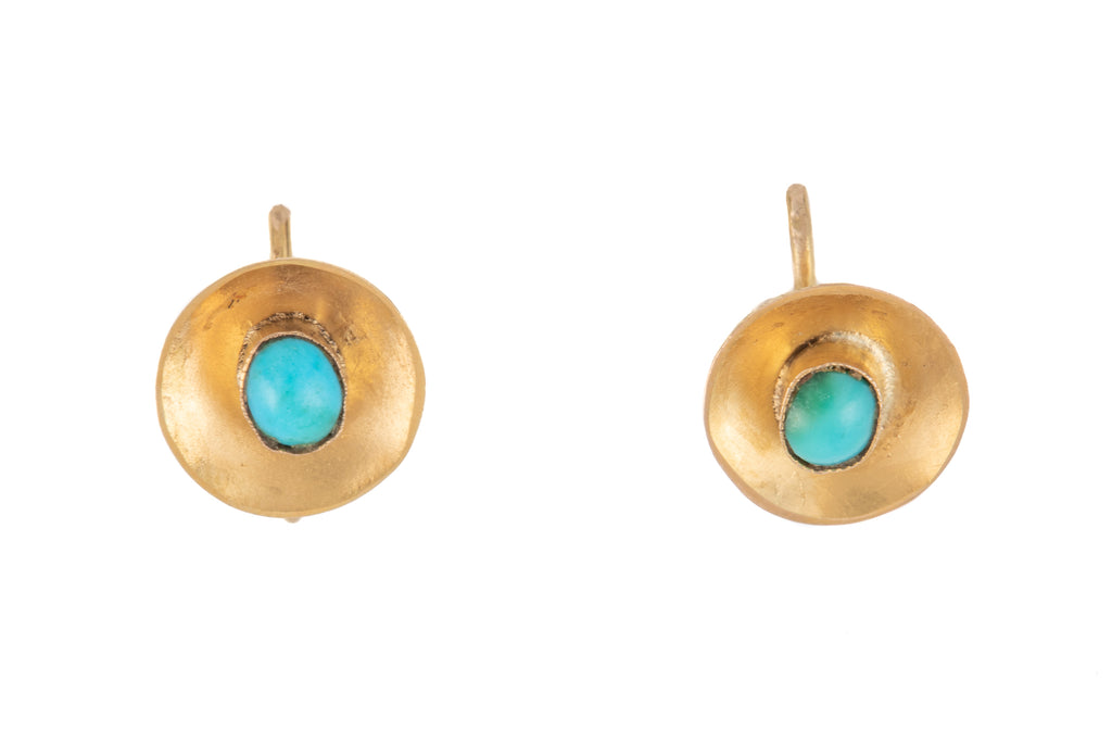 Victorian 15ct Gold Turquoise Disk Earrings