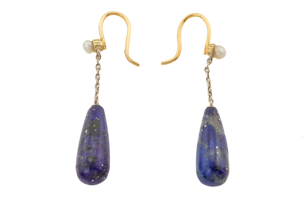 Victorian 18ct Gold Lapis Lazuli Pearl Drop Earrings