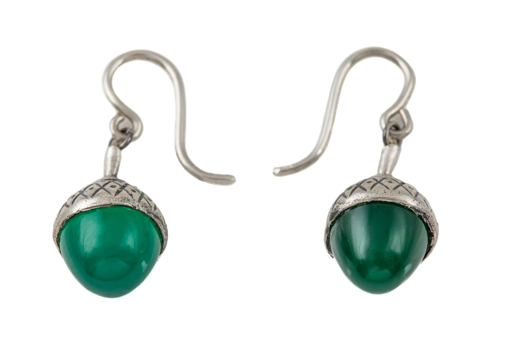 Antique Silver Chrysoprase Acorn Earrings