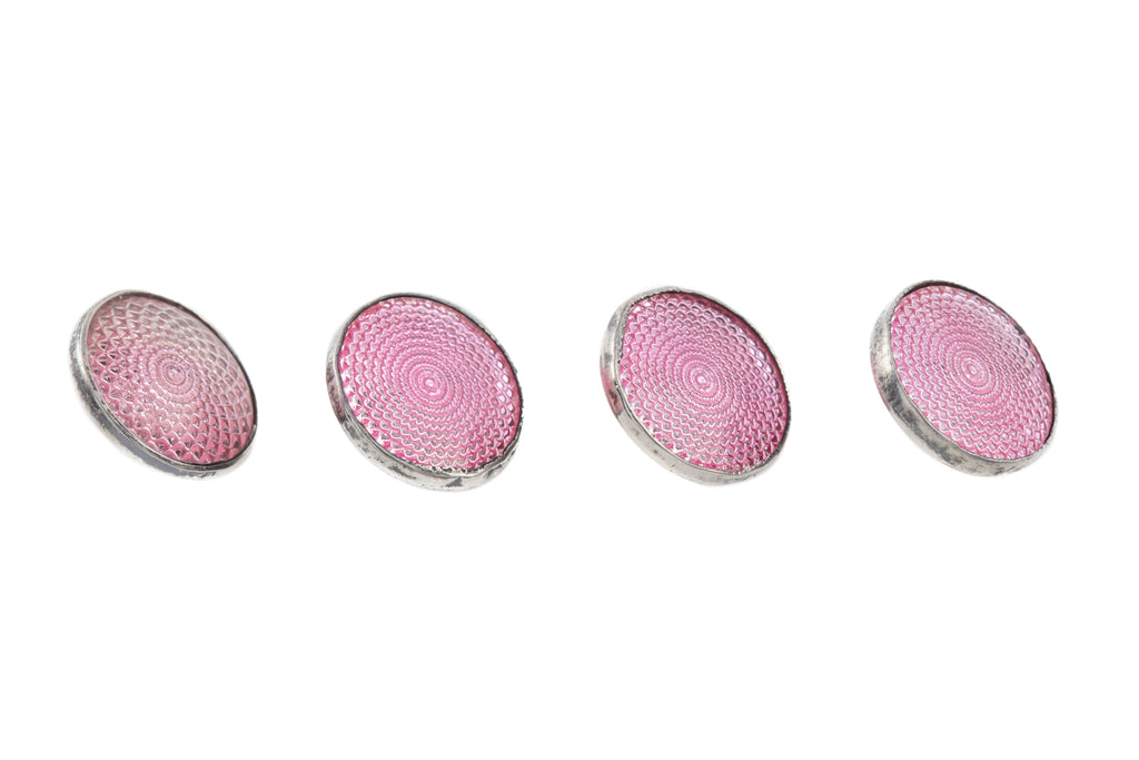 Art Deco Silver Pink Enamel Dress Buttons, With Original Box