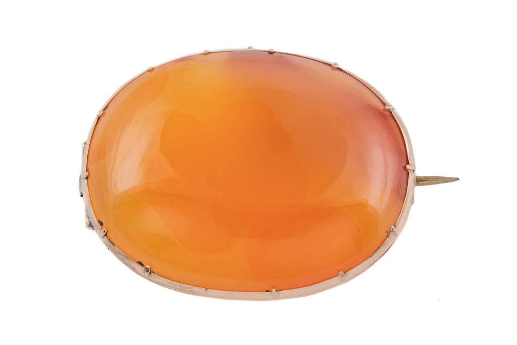 Georgian Gold Carnelian Oval Brooch