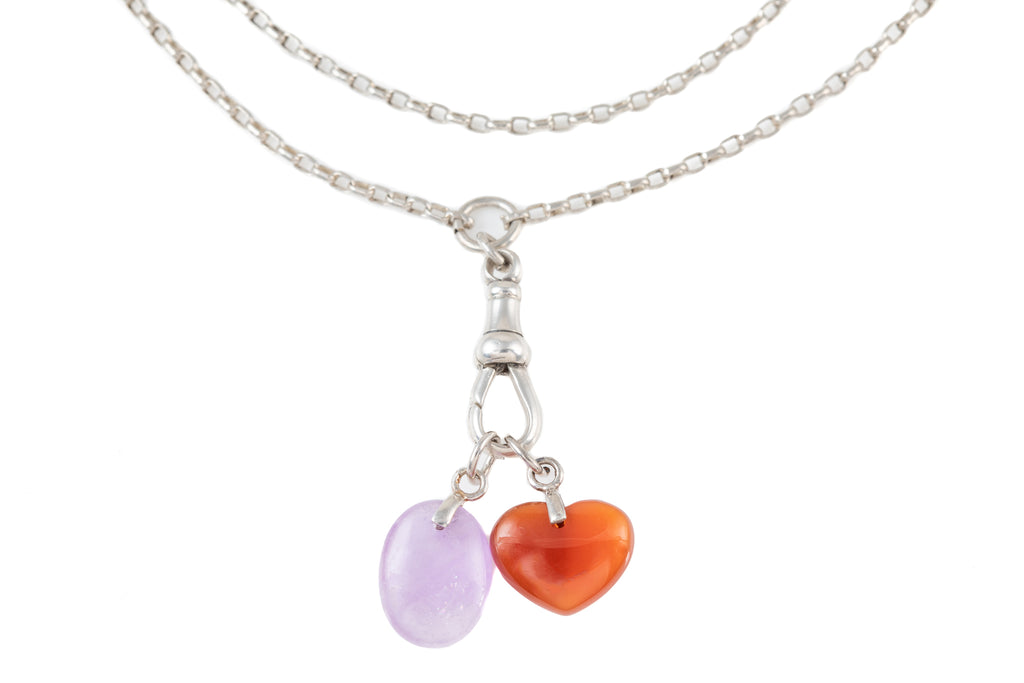 Victorian Silver Chain, with Amethyst Carnelian Charms, 52""