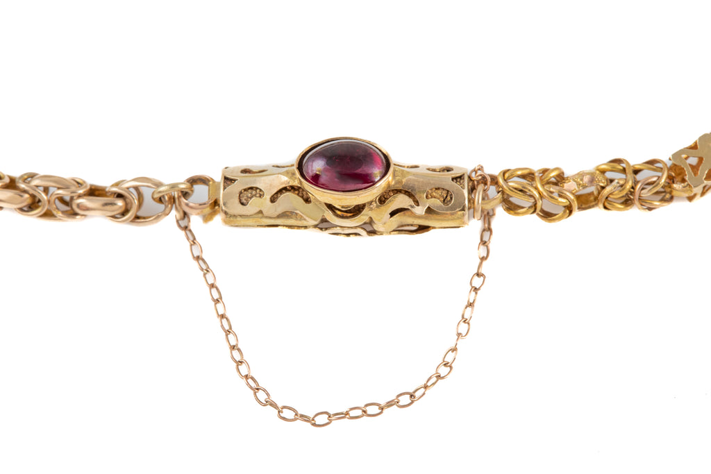Antique 15ct Gold Garnet Bracelet (0.90ct), 6 & 1/2""