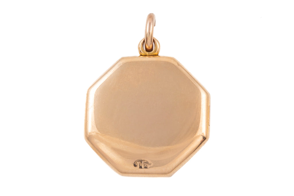 Antique 15ct Gold Hexagonal Locket with Pearl