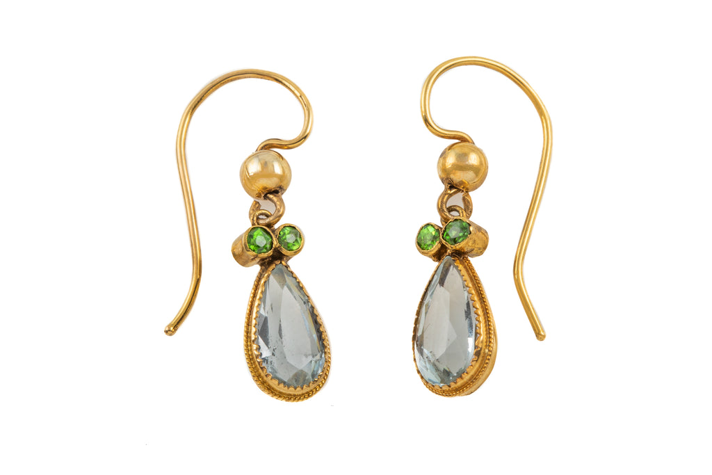 Antique 15ct Gold Aquamarine Peridot Drop Earrings, (1.80ct)