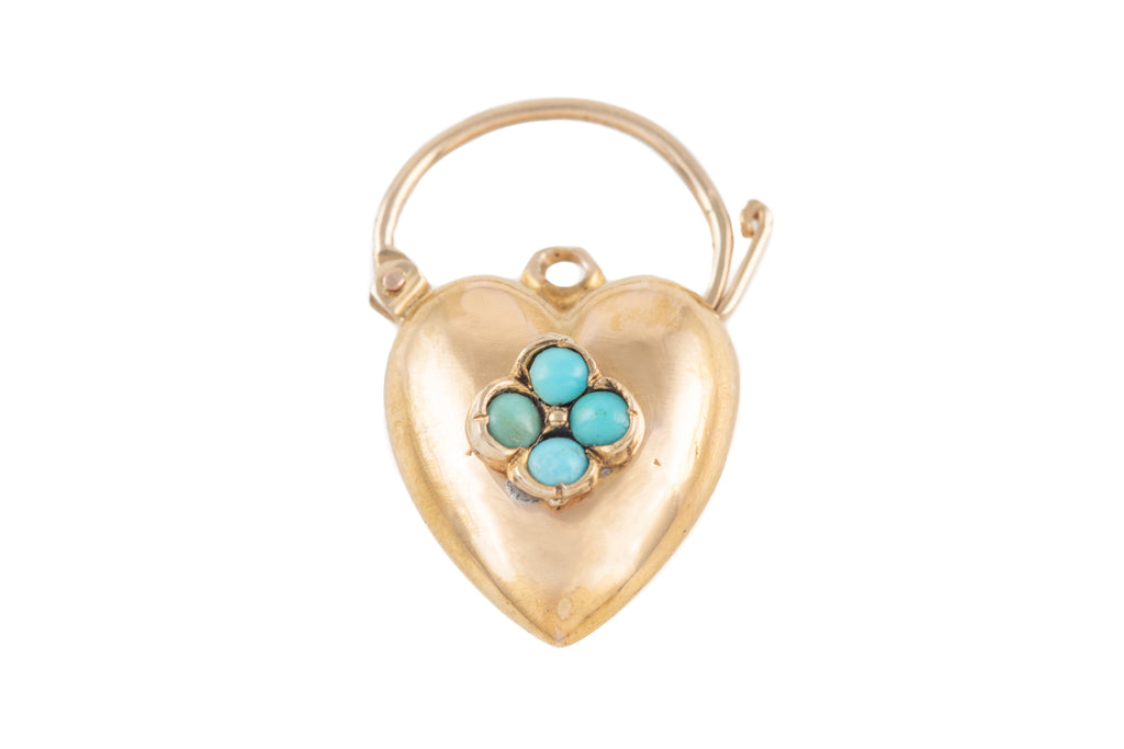 Victorian 15ct Gold Turquoise Heart Padlock Pendant
