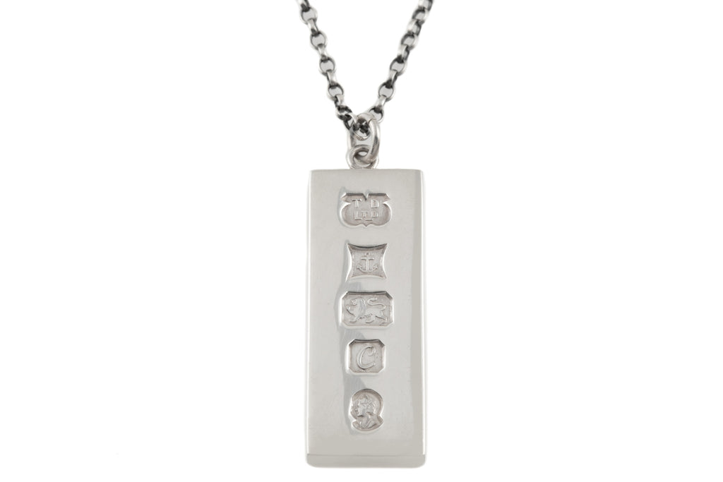 "Heavy Silver Ingot Pendant, with 20"" Chain"