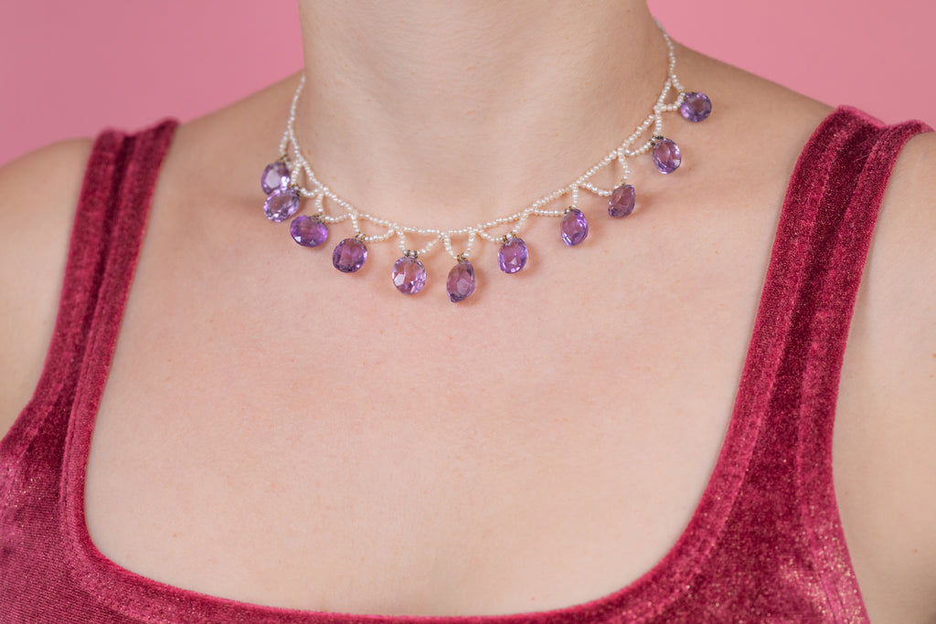 Victorian Amethyst Pearl Choker Necklace (38.50ct), 13 & 3/4""