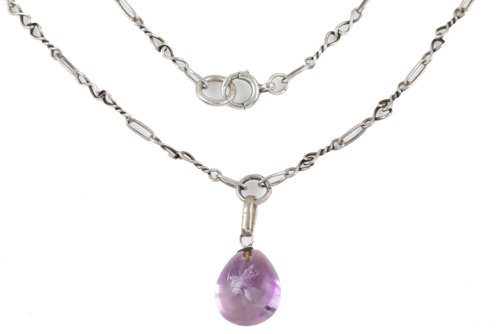 Arts and Crafts Era Silver Amethyst Drop Necklace (32.3ct), 19 & 3/8""