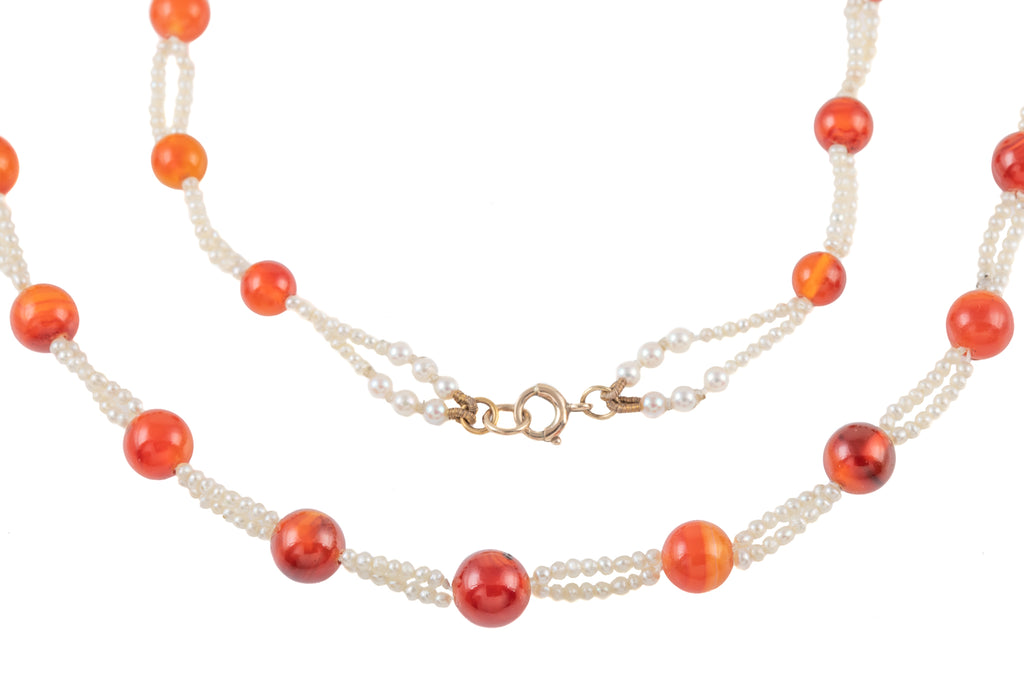 Antique Carnelian Pearl Beaded Necklace, 15 & 1/2""