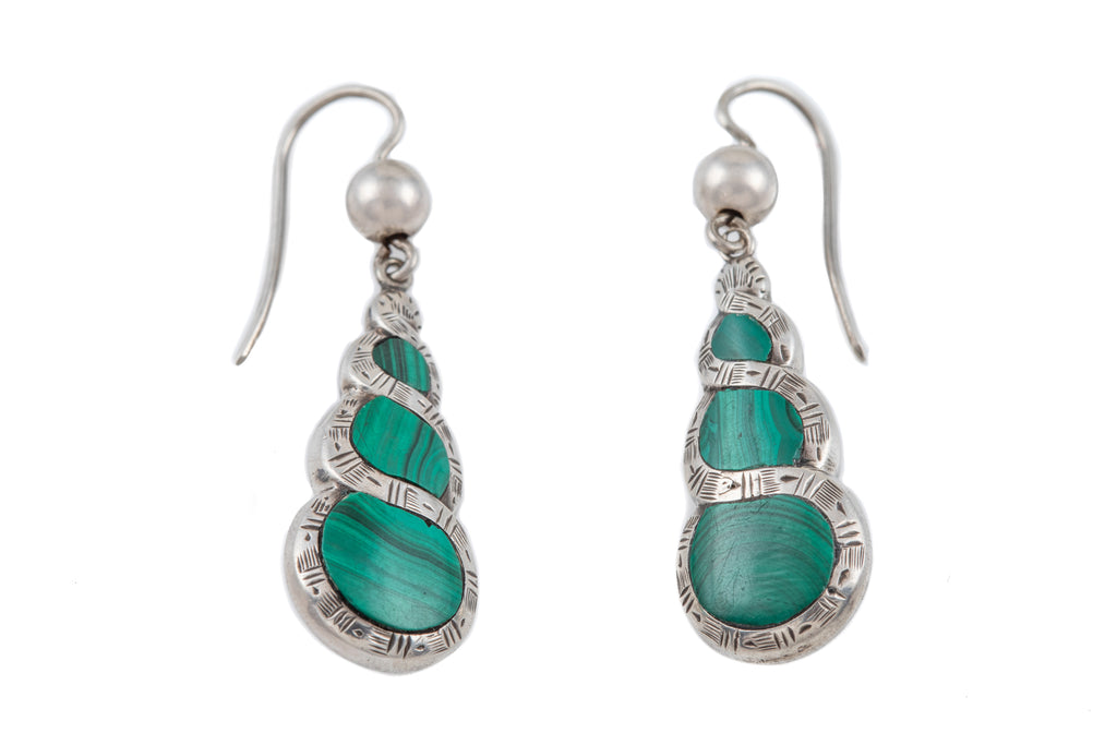 Victorian Silver Malachite Earrings