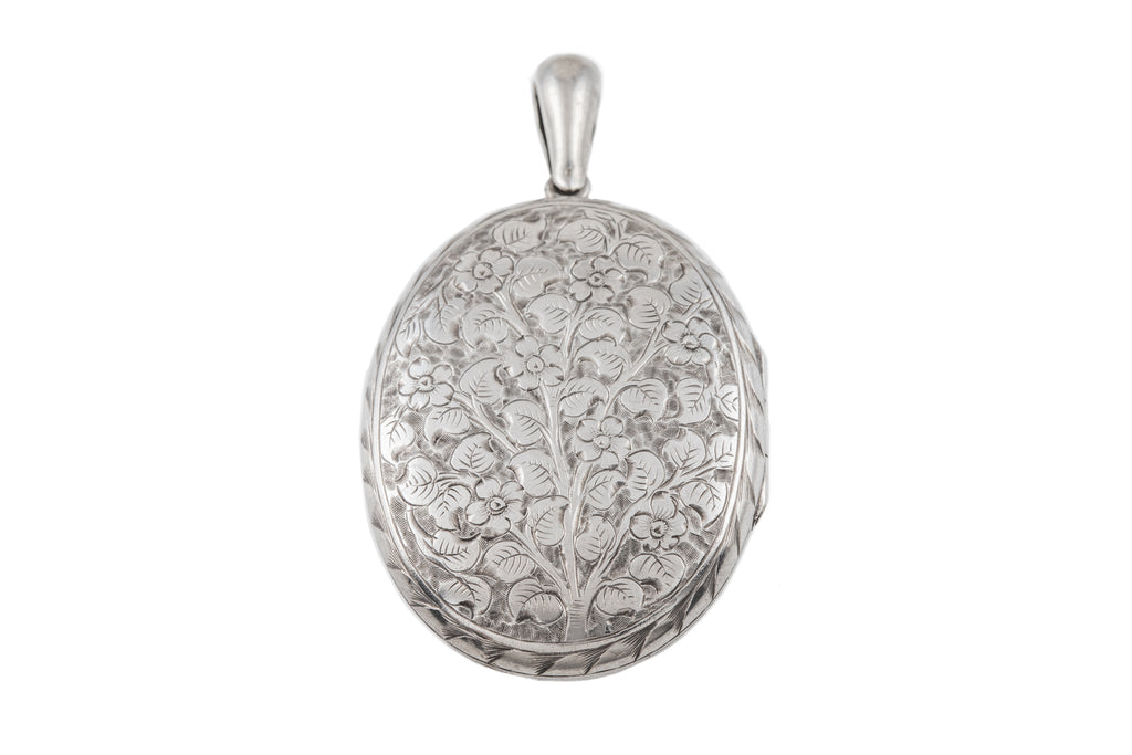 Large Victorian Silver Forget-Me-Not Locket, c.1881
