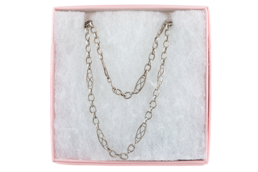 Antique French Silver Long Guard Chain, 54""