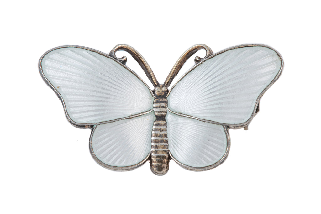 Art Deco Silver White Enamel Butterfly Brooch