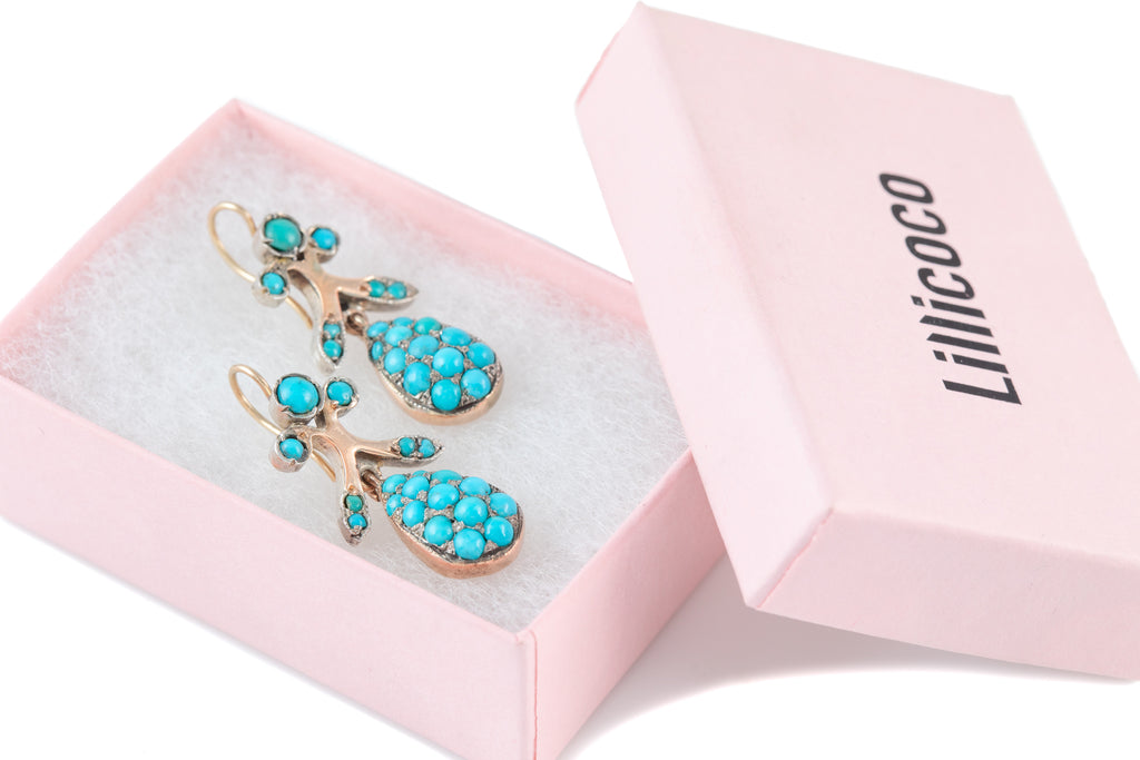 Victorian Silver Turquoise Pave Earrings, with Solid 9ct Gold Hooks