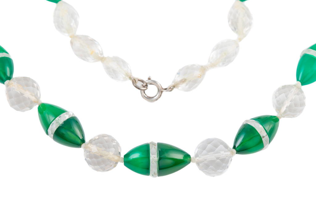 Art Deco Rock Crystal Chrysoprase Necklace, 18""