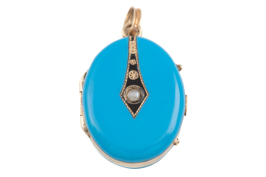 Antique 15ct Gold Blue Enamel Pearl Locket