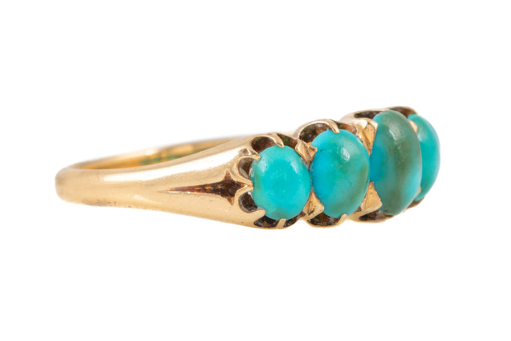 Antique French 18ct Gold Turquoise Five Stone Ring