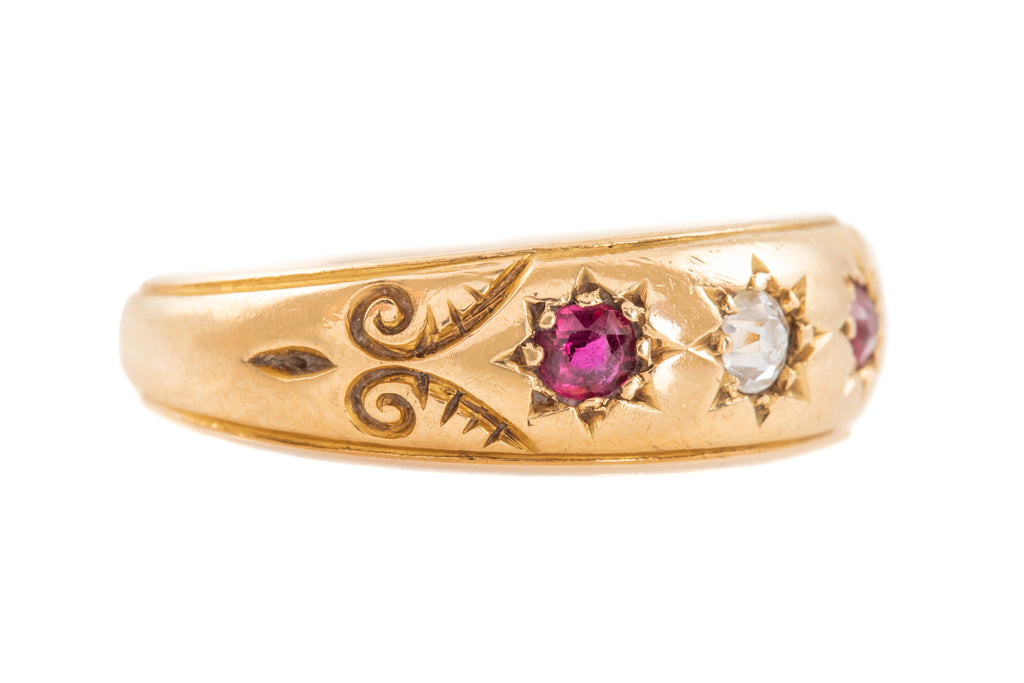 "Victorian 18ct Gold Ruby Diamond ""Gypsy"" Ring, c.1893"