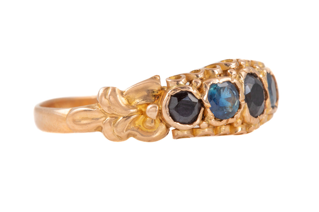 Victorian 15ct Gold Sapphire Five Stone Ring, (1.00ct)