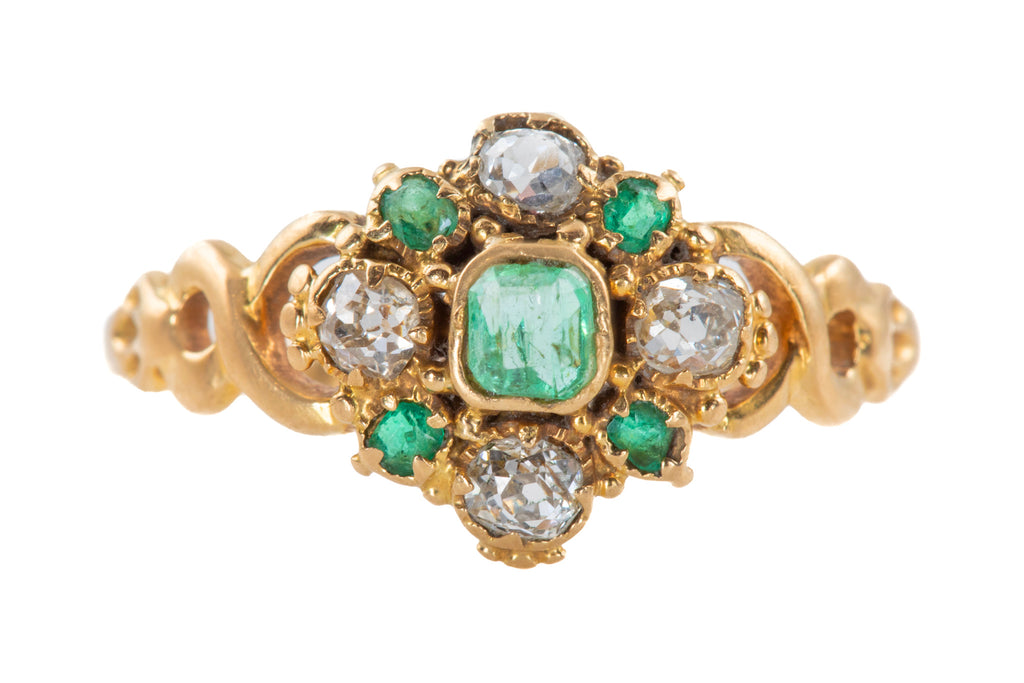 Georgian 18ct Gold Diamond Emerald Cluster Ring
