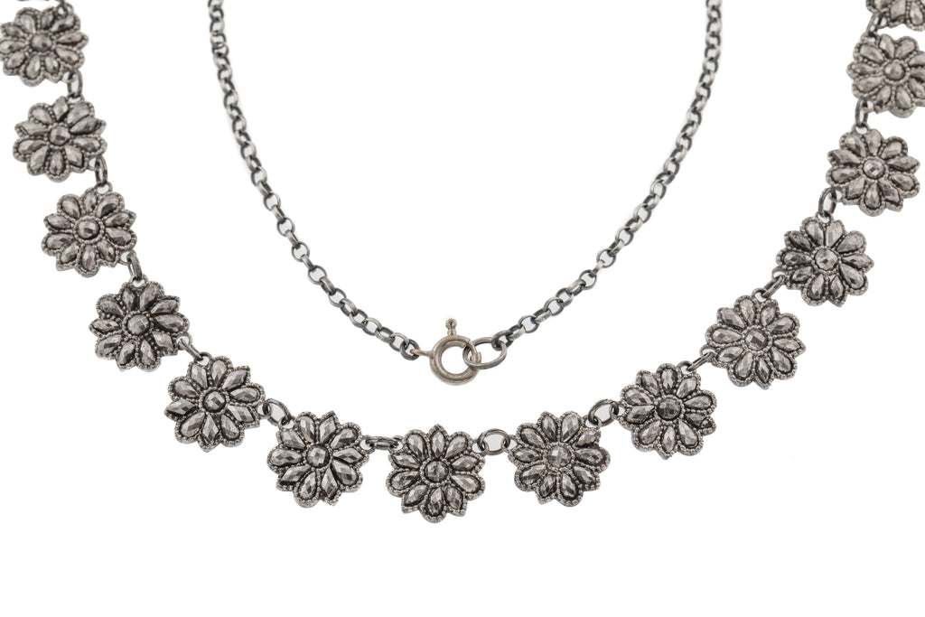 "Georgian Cut Steel ""Daisy Chain"" Necklace, 18"""