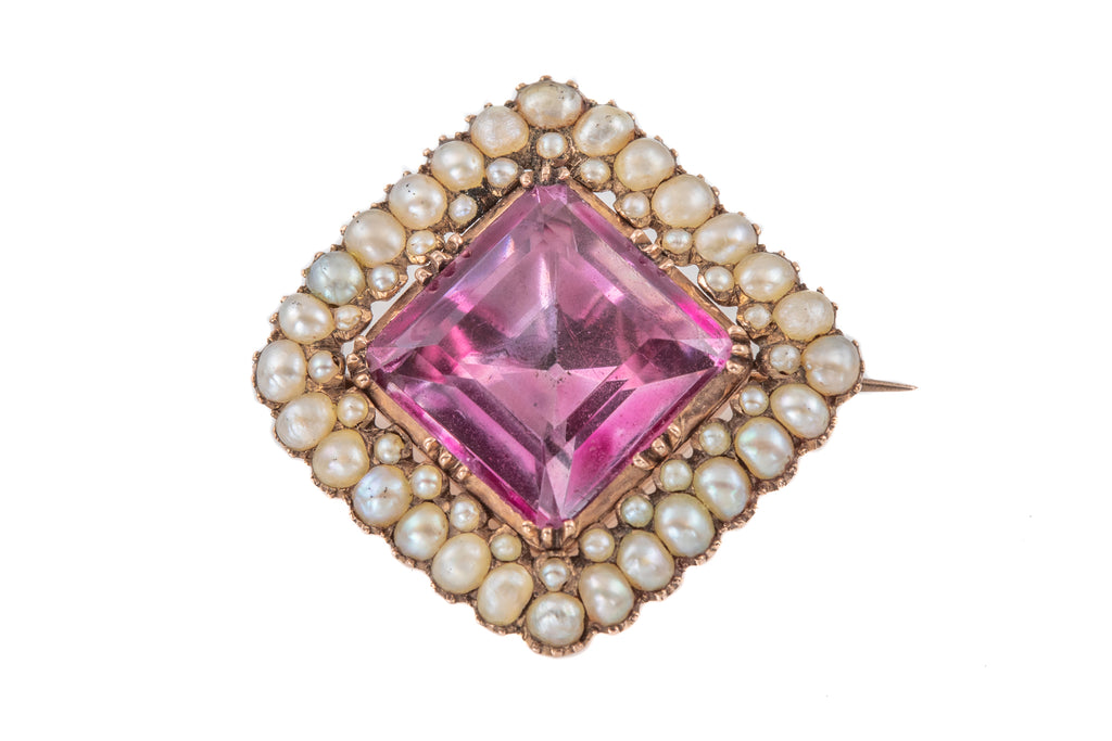 Georgian Gold Amethyst Pearl Brooch, (6.80ct)