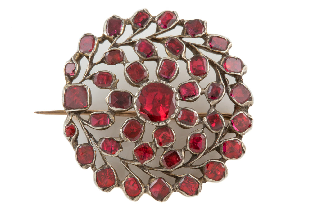 Georgian Silver Flat Top Garnet Roundel Brooch