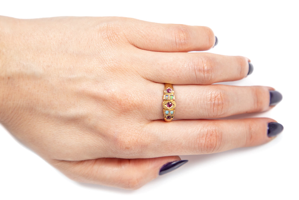 "Edwardian 15ct Gold Opal Ruby ""Gypsy"" Ring, c.1905"