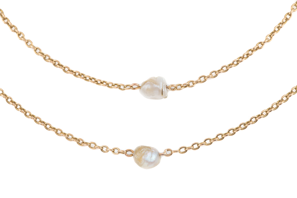 "Victorian 15ct Gold Baroque Pearl Guard Chain, 61 & 5/8"" (25.2g)"