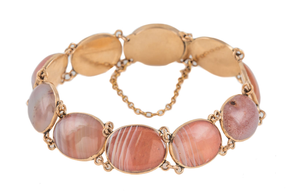Georgian 12ct Gold Pink Agate Bracelet, 6""
