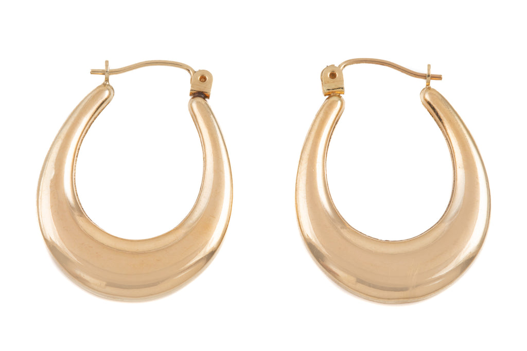 Gold Chunky Oval Hoop Earrings