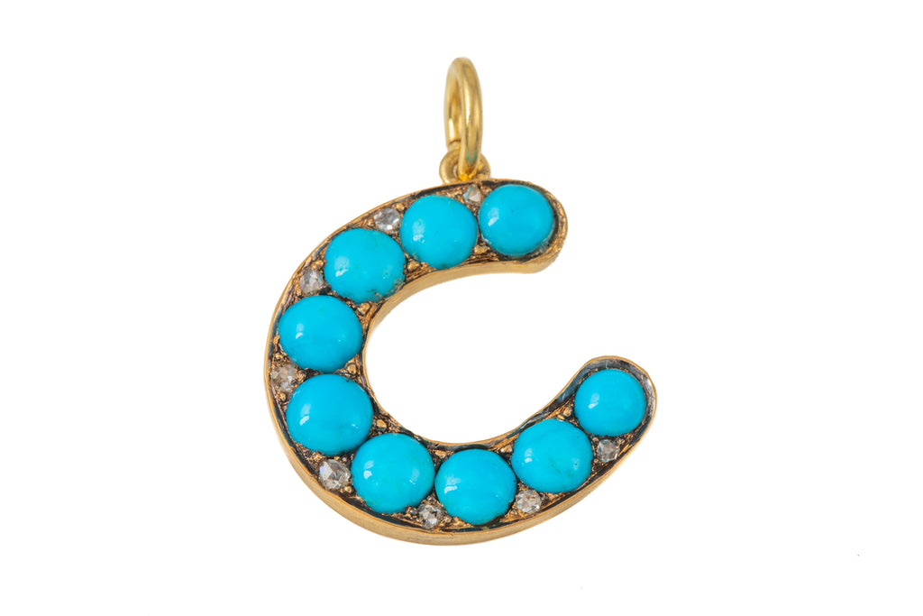 Antique 18ct Gold Turquoise Diamond Horseshoe Pendant