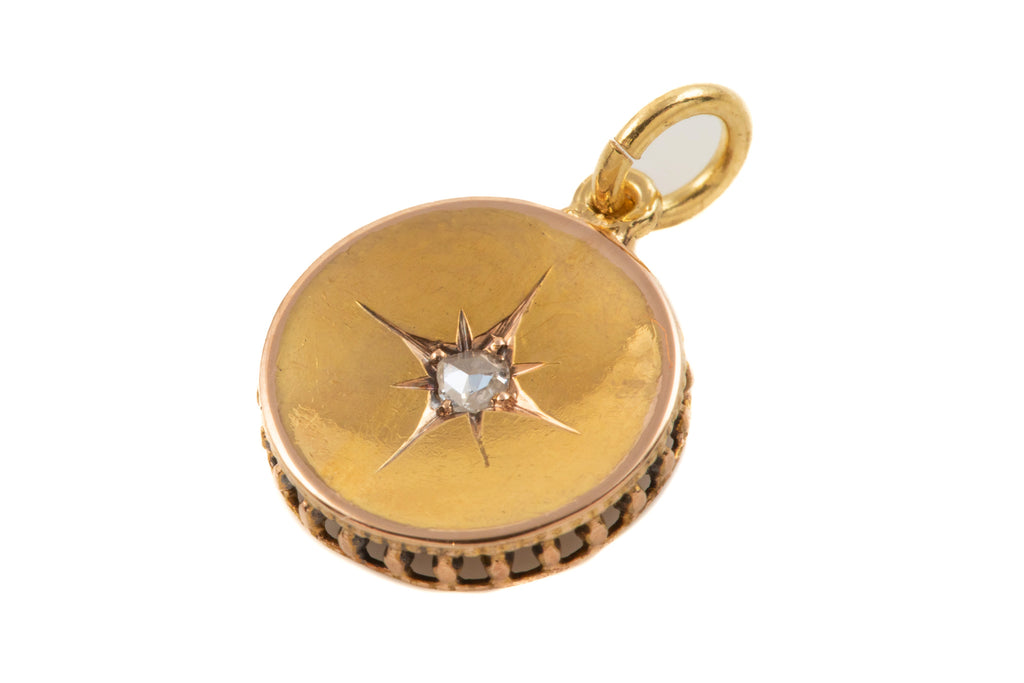 "15ct Gold Antique Diamond ""Star"" Disk Pendant (0.03ct)"